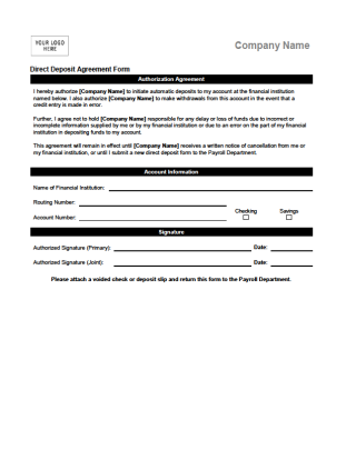 Direct Deposit Agreement Form