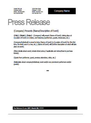 Event press release template for How to write a press release for an event template