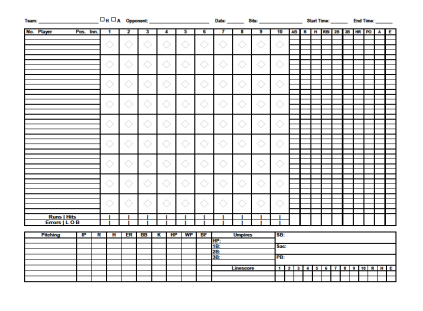 photo about Baseball Scorebook Printable known as Printable Baseball Scorecard