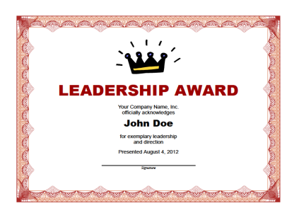 Printable Leadership Award