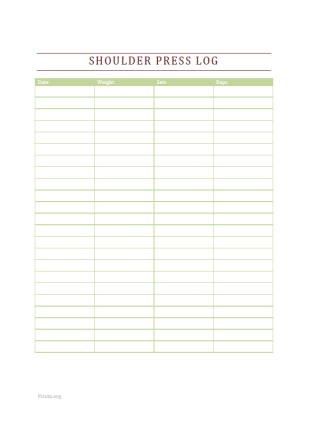 Shoulder Press Log