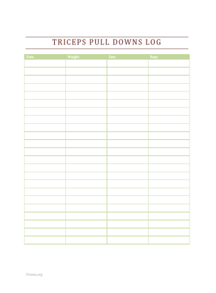 Triceps Pull Downs Log
