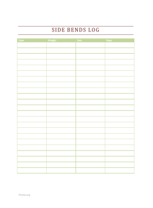 Side Bends Log