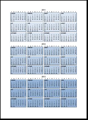 2011 thru 2013 Calendar