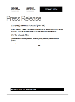 film press release template - film press release template