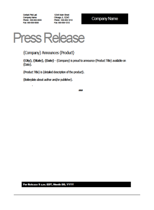 product press release template | Template