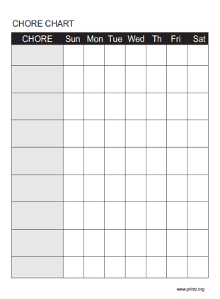 Household Weekly Chore Chart