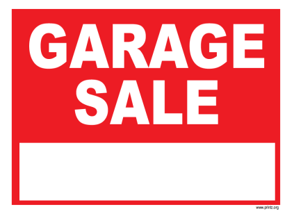 garage sale flyer sign