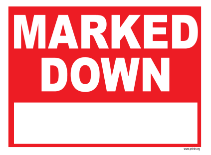 Marked Down Sign
