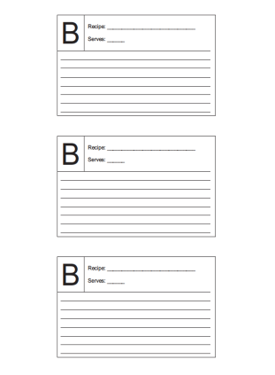 Recipe Card 3x5 Lined Lettered B
