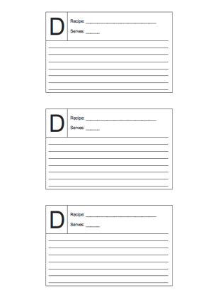3x5 Recipe card lined and lettered D
