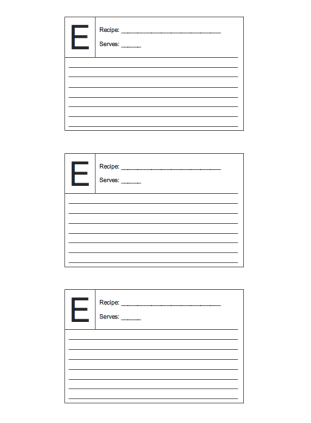 3x5 Recipe card lined and lettered E