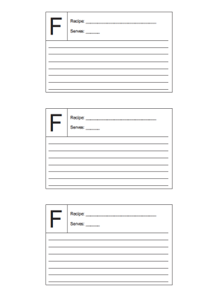 Recipe Card 3x5 Lined Lettered F