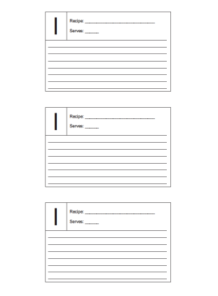 Recipe Card 3x5 Lined Lettered I