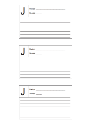 Recipe Card 3x5 Lined Lettered J