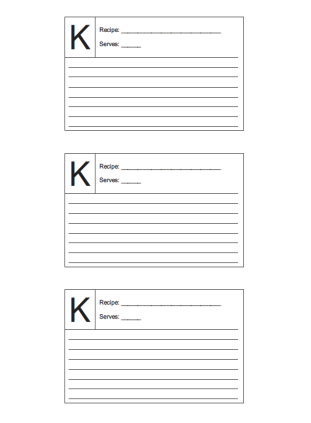 Recipe Card 3x5 Lined Lettered K