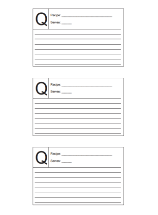 Recipe Card 3x5 Lined Lettered Q