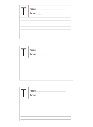 Recipe Card 3x5 Lined Lettered T