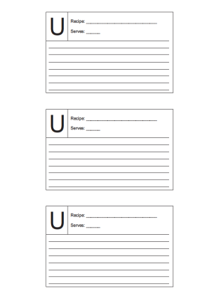 Recipe Card 3x5 Lined Lettered U