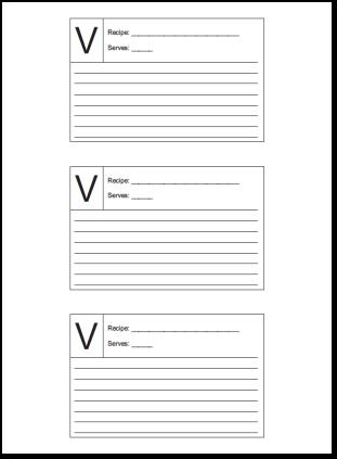 Recipe Card 3x5 Lined Lettered V