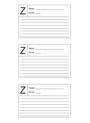 Recipe Card 3x5 Lined Lettered Z