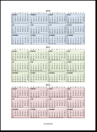 calendar 2012 printable. 2010 thru 2012 Calendar