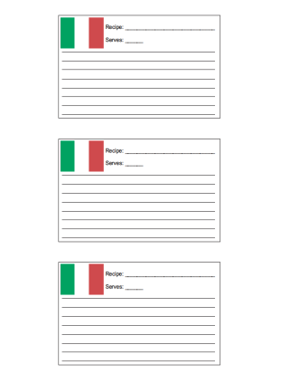 3x5 Recipe Card with for Italian Recipes