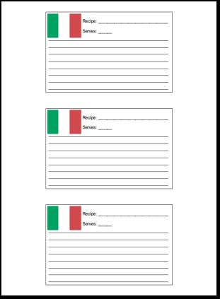 3x5 Recipe Card with for Italian Recipes