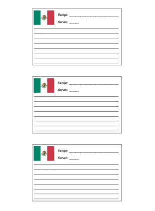 3x5 Recipe Card with for Mexican Recipes