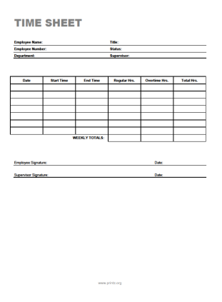 time sheets forms