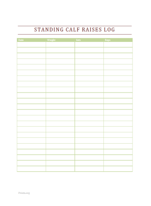 Standing Calf Raises Log