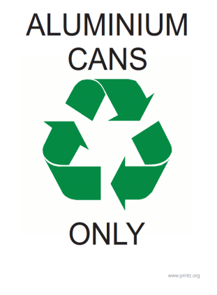 Recycling Aluminum Cans Only Sign