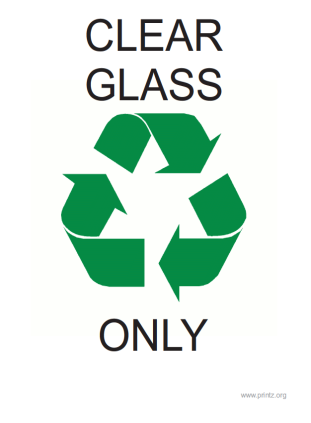Recyling Clear Glass Only Sign
