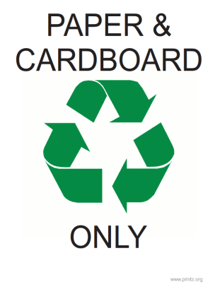 Recyling Paper and Cardboard Only Sign