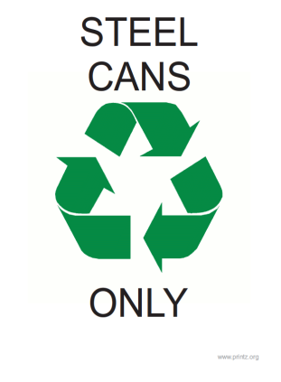 Recyling Steel Cans Only Sign