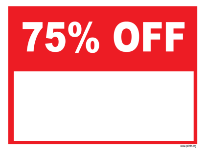 75 Percent Off Sign