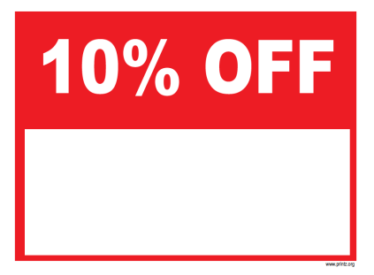 10 Percent Off Sale Sign