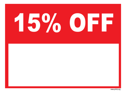 15 Percent Off Sale Sign