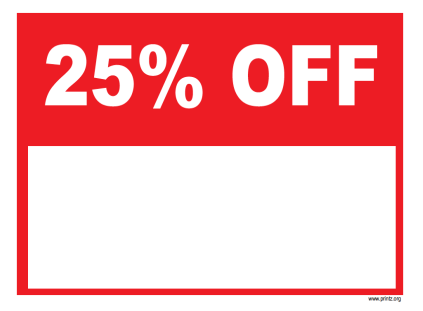 25 Percent Off Sale Sign
