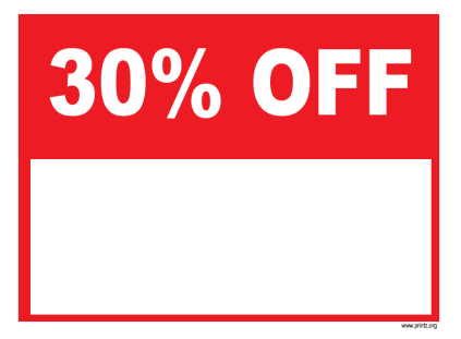 30 Percent Off Sale Sign