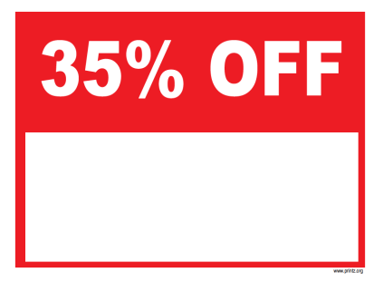 35 Percent Off Sale Sign
