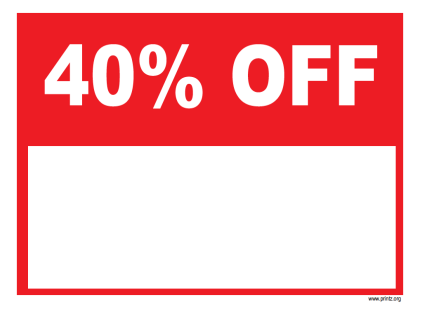 40 Percent Off Sale Sign