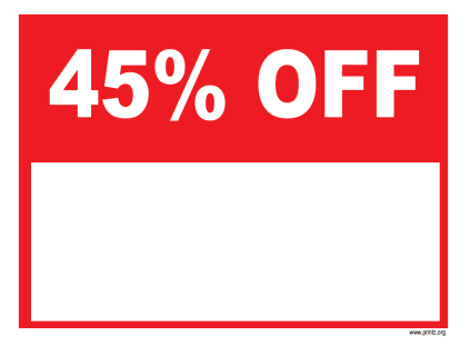 45 Percent Off Sale Sign