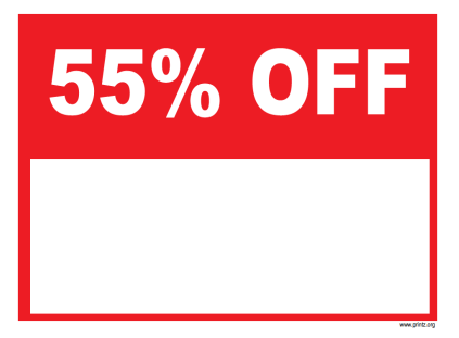 55 Percent Off Sale Sign