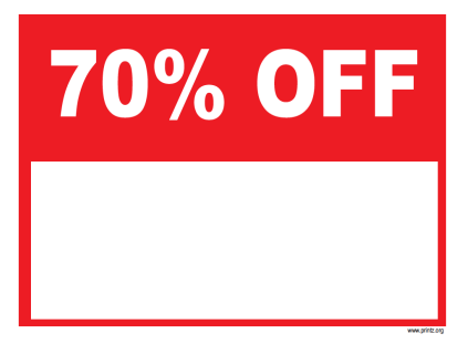 70 Percent Off Sale Sign