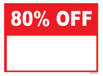 80 Percent Off Sale Sign