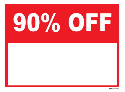 90 Percent Off Sale Sign