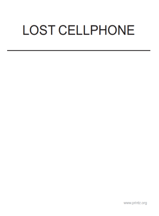 Lost Cellphone Flyer
