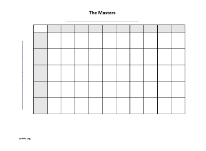 The Masters 50 square grid