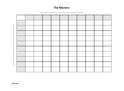 graphic regarding 100 Square Printable known as The Masters 100 sq. grid